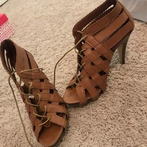 Brown lace up heels